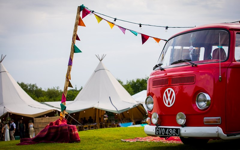 Ashbarton Estate - Ash Barton Estate Wedding Venue festival marquee vw camper van