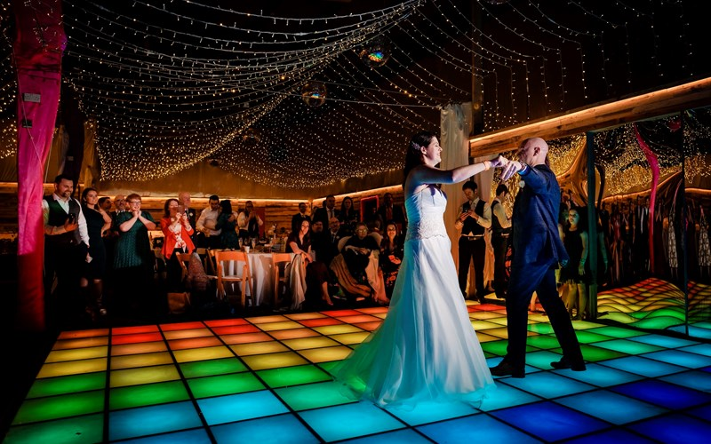 Ashbarton Estate - Ash Barton wedding venue Devon disco dance floor party barn