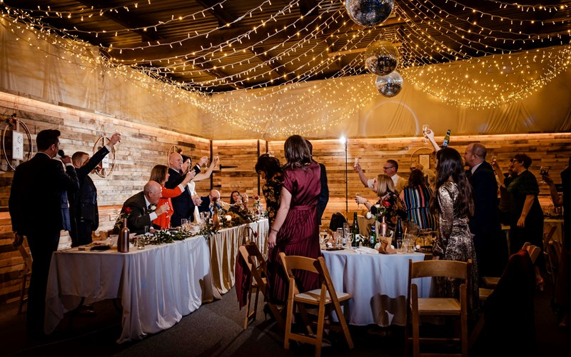 Ashbarton Estate - Ash Barton wedding venue Devon fairy lights disco balls bar
